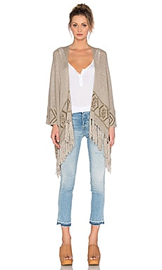 360 Sweater Rowan Fringe Cardigan in Sand & Caramel