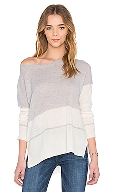 360 Sweater Reilly Stripe Sweater in Powder Grey & Chalk Stripe