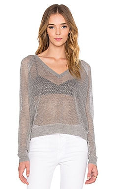 Melina V Neck Sweater en Gris Chiné