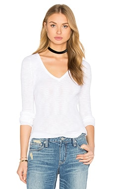 360 Sweater Linde V Neck Sweater in White