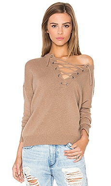 x Rocky Barnes Dylan Lace Up Sweater in Caramel