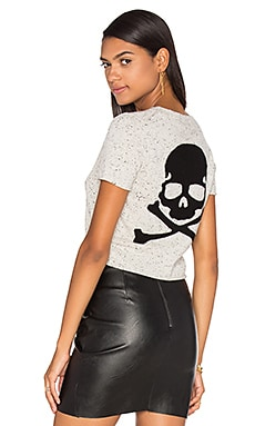 360 Sweater Talla Short Sleeve Cashmere Sweater in Frost & Black Skull