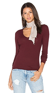 Linde V Neck Sweater en Bordeaux