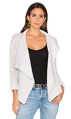 Jordana Drape Front Cashmere Cardigan in Light Grey Tweed