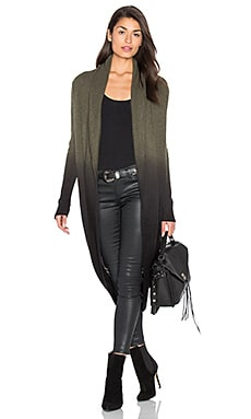360 Sweater Kalisha Cashmere Cocoon Cardigan in Loden & Black Dip Dye