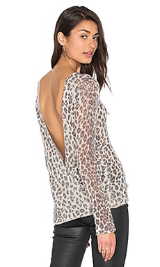 360 Sweater Zan Open Back Cashmere Sweater in Leopard Multi