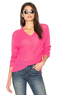 Xael V Neck Sweater in Shocking Pink