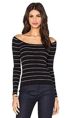 Phuket Off Shoulder Top in Black & White Stripe