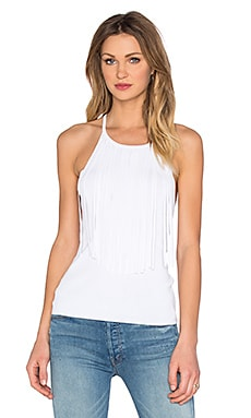 Presley Sleeveless Fringe Tank in White