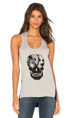Skull Tank in Mid Heather Grey & Black Skull