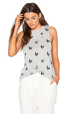 Jeanine Tank in Heather Grey & Navy Print