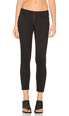 Zip Fly Crop Skinny in Black Rinse