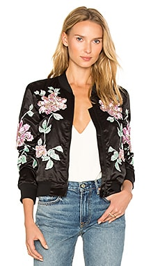 Floral Embroidered Jacket en Negro