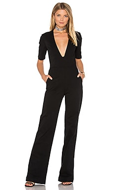 Plunge Neck Jumpsuit en Black Overdye