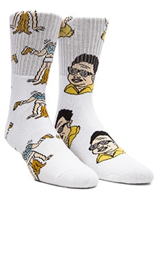 40's & Shorties Glorious Leader & White Girl Twerk Socks in White & White