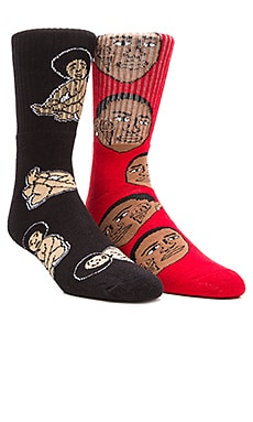 40's & Shorties Biggie Baby & Ice Cream Socks in Black & Red