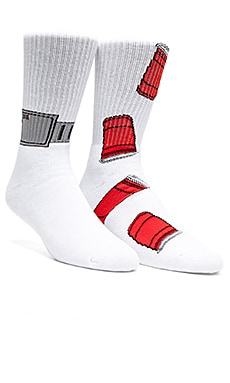 40's & Shorties House Arrest Socks in White, Red Cups Socks in White