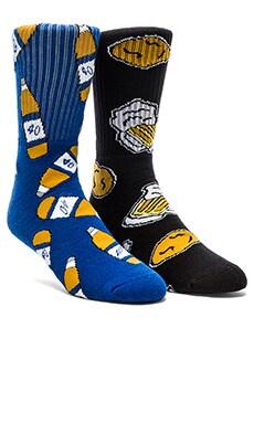 40's & Shorties Chicken N' Beer & 40's Blue Socks in Black & Blue