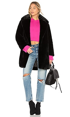 Bicolor Faux Fur Coat
