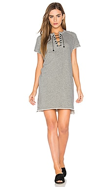Ottoman Lace Up Dress in Charcoal