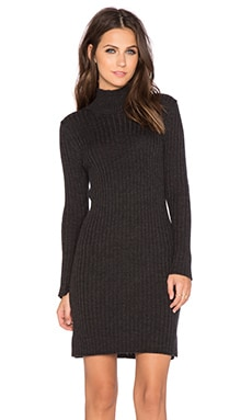 525 america Rib Mockneck Dress in Dark Grey