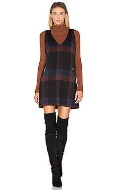 Plaid V Neck Jumper Dress em Conjunto Preto