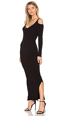 Rib Cold Shoulder Maxi Dress in Black