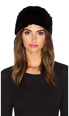 525 america Rex Rabbit Fur Pom Pom Beanie in Black