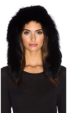 525 america Rabbit Fur Hood in Black