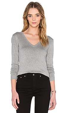 V Neck Long Sleeve Sweater en Gris Chiné