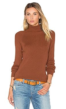 Solid Rib Turtleneck Sweater in Caramel