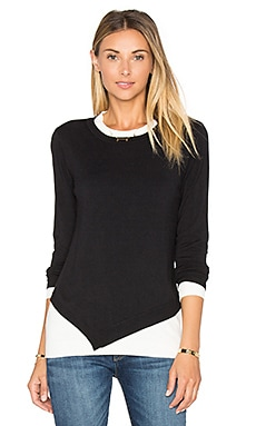Asymmetrical Crew Neck Sweater in Black Combo