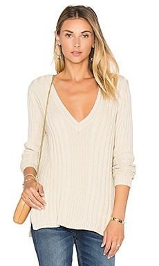 Rib V Neck Sweater in French Vanilla