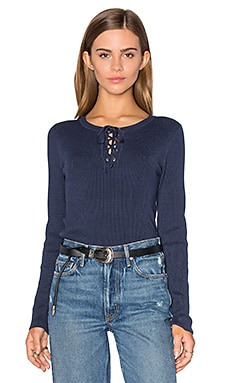 Lace Up Sweater in Shadow Blue