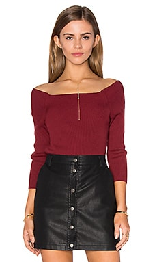 3/4 Sleeve Off Shoulder Sweater in Malbec