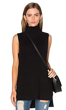 Mock Neck Sleeveless Sweater en Noir