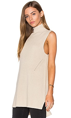 Mock Neck Sleeveless Sweater en Vanille