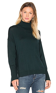 Side Slit Sweater in Pine Green