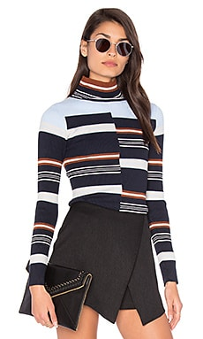 Rib Mock Neck Sweater – 经典海军蓝拼接