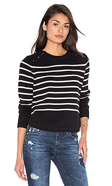 Stripe Crew Neck Sweater in Black & French Vanilla