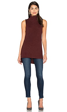 Sleeveless Mock Neck Sweater in Rootbeer