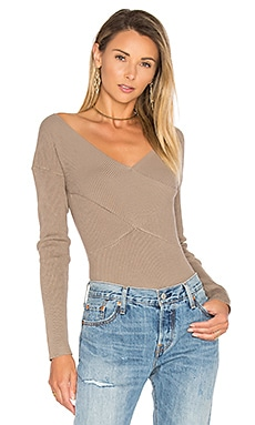 Rib Double V Criss Cross Sweater in Beechwood