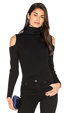 Cut Out Ribbed Turtleneck Sweater in Schwarz