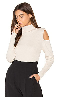 Cut Out Ribbed Turtleneck Sweater in French Vanilla