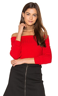 Off Shoulder Ribbed Sweater in New Scarllet