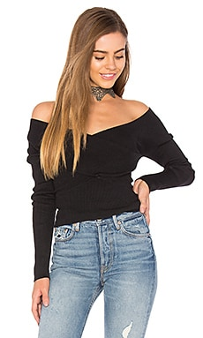 Rib Double V Criss Cross Sweater in Black