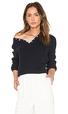 Cotton Shaker Faux Lace Up Sweater in Classic Navy