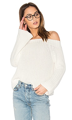 Off Shoulder Sweater en Blanc Délavé