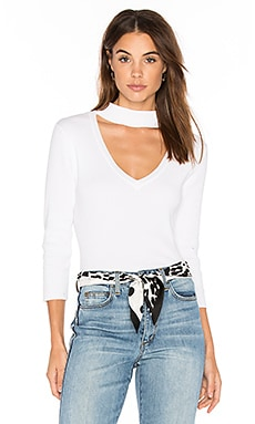 Rib Choker Sweater in White