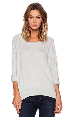 525 america Hi Lo Pullover Sweater in Light Heather Grey